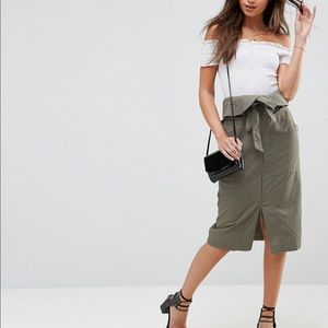 Utility midi skirt with paper bag waist